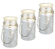 Set of 3 Indoor Outdoor Hand Blown Mercury Glass Mason Jars by Valerie - H202137