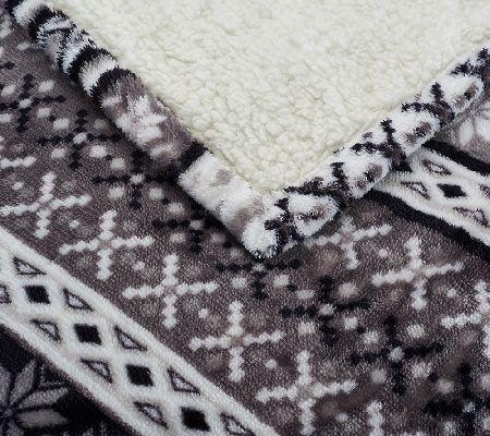 Berkshire Twin Oversized Fair Isle Faux Mink/Sherpa Blanket - Page ...