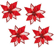 Set of 4 Glitter Poinsettia Clips by Valerie - H205337