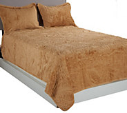 As Is Dennis Basso Faux Fur FL/QN Quilted Coverlet & Shams Set - H205937