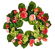 18 Rose, Hydrangea and Tulip Wreath - H208037