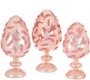 Set of 3 Embellished Eggs with Pedestal by Valerie - H210537