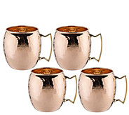Old Dutch Set of 4 Hammered Solid Copper MoscowMule Mugs - H288137