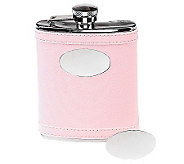 Pink Stainless Steel Faux Leather Flask - H348737