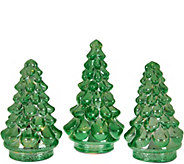 Set of 3 Illuminated Mercury Glass Graduated Christmas Trees - H209638