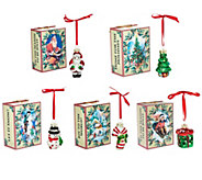 Kringle Express Set of 5 Tiny Treasure Ornaments with Gift Boxes - H211838
