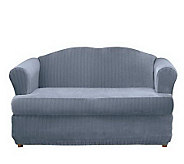 Sure Fit Stretch Pinstripe 2 pc T-Cushion Loveseat Slipcover - H149839