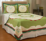 Holiday Ivy 100Cotton Twin Pieced Quilt w/ Shams - H206739