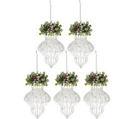 Set of 5 Shimmering Iced Glass Ornaments by Valerie