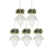 Set of 5 Shimmering Iced Glass Ornaments by Valerie - H208739