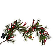 4 Illuminated Red Berry and Holly Garland by Valerie - H209839