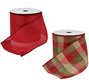 2-piece 4 Wide Ribbon in Red and Plaid by Valerie - H205340