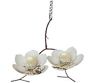 Desert Steel Double Magnolia Outdoor Hanging Bird Feeder - H286040