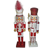 S/2 15 Candy Cane Drizzle Nutcrackers by Santas Workshop - H289540