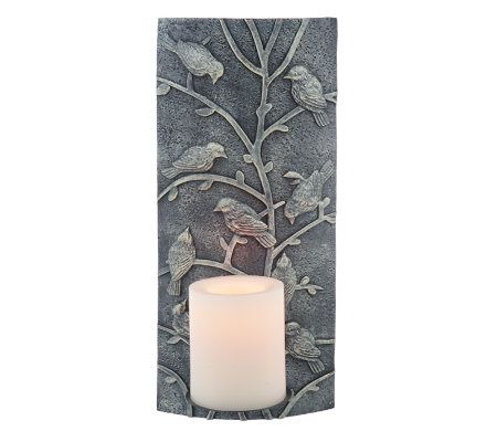 CandleImpressio Embossed Relief Wall Sconce w/ FlamelessCandle with Timer - Page 1 QVC.com