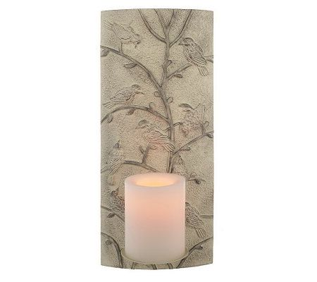 Wall Sconces Qvc : CandleImpressio Embossed Relief Wall Sconce w/ FlamelessCandle with Timer - H192641 QVC.com