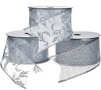 "Set of 3 2.5"" Wide 10 Yard Wired Glitter Ribbons - H205341"