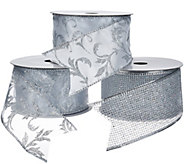 Set of 3 2.5 Wide 10 Yard Wired Glitter Ribbons - H205341