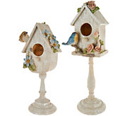 Set of 2 Birdhouses on Pedestals by Valerie - H210541