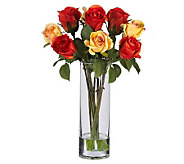 Roses w/Glass Vase Flower Arrangement by NearlyNatural - H179242