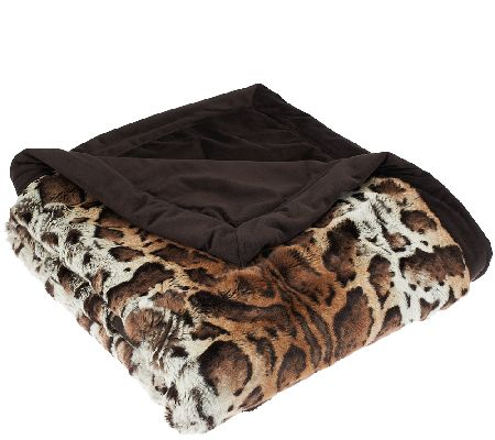 Dennis Basso Platinum Luxe Faux Fur Throw with Velvet Border - H203242