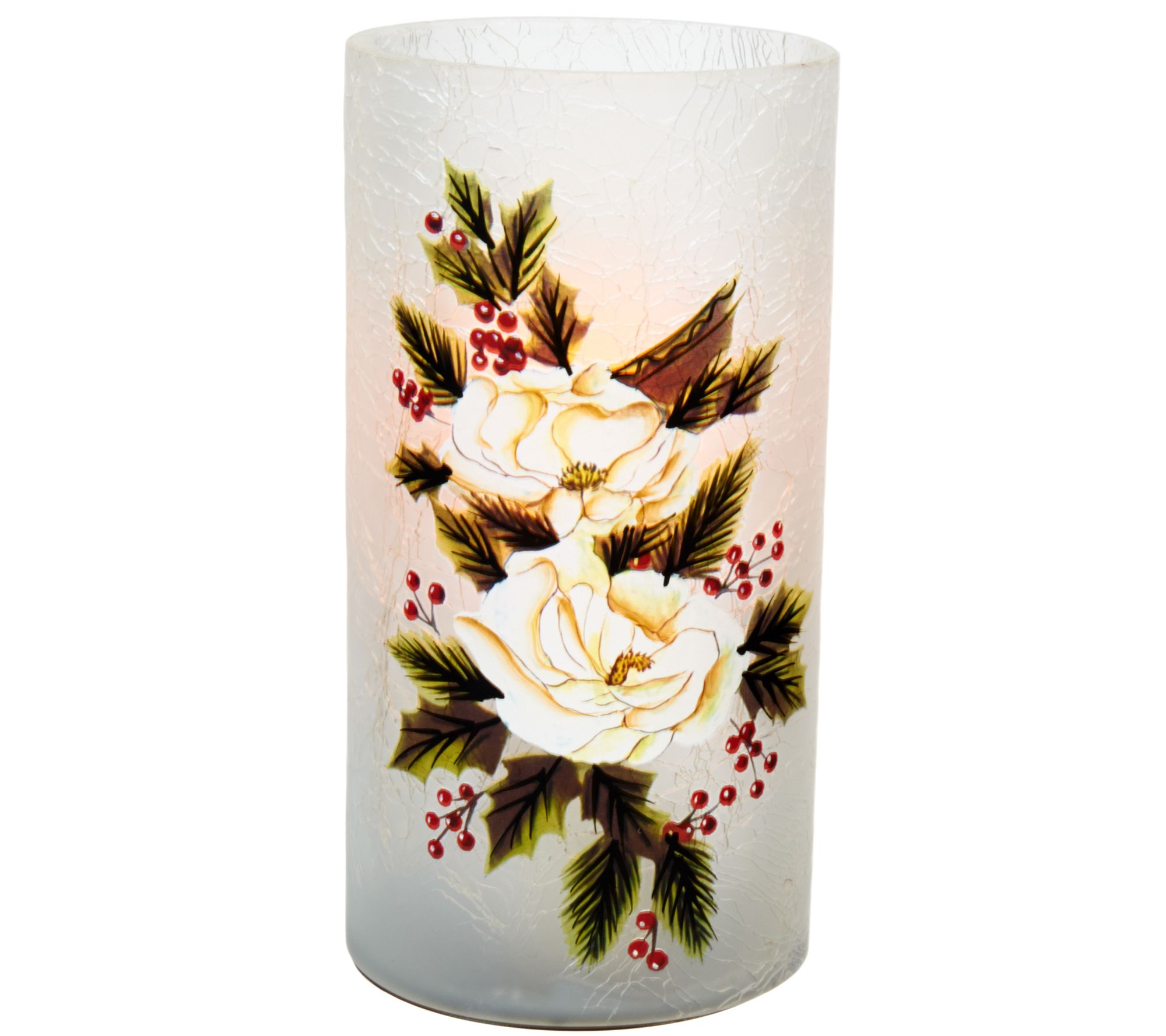 "Candle Impressions 7"" Hand Painted Holiday Luminary Vase — QVC.com"