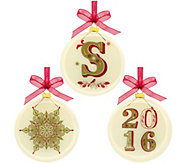 Hallmark 2016 Commemorative Monogrammed 3.5 Glass Blown Ornaments - H208742