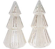 Set of (2) 12 Illuminated Mercury Glass Trees w/ Timers by Valerie - H212542