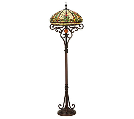 Tiffany style 62 1 2quoth baroque floor lamp qvccom for Tiffany floor lamp qvc