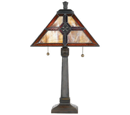 Tiffany Style 22 Geometric Pattern Table Lamp QVC