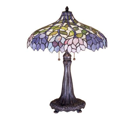 Tiffany style wisteria table lamp qvccom for Tiffany floor lamp qvc