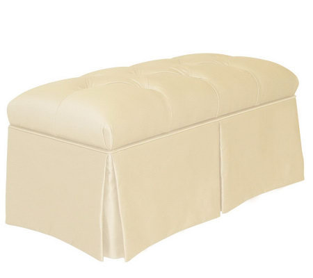 Skirted Storage Faux Silk Bench