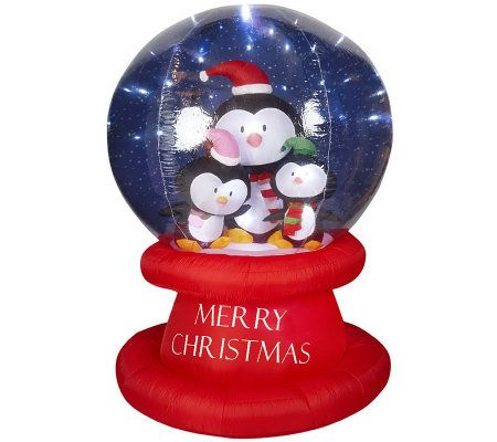 6 39 holiday inflatable led snow globe with yard stake and for Outdoor christmas globes