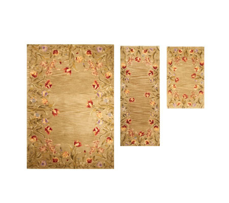 Royal Palace Floral Fields 3-pc. Area Size Handmade Wool Rug Set