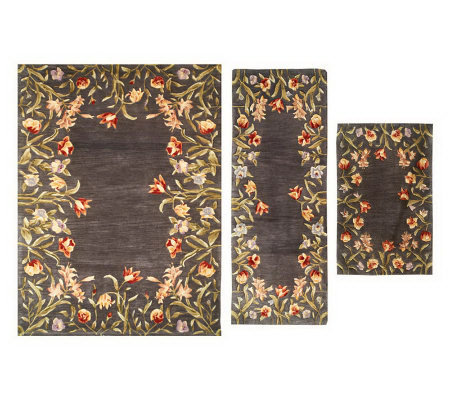Royal Palace Floral Fields 3 Pc Area Size Handmade Wool