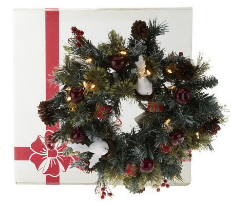 "Kringle Express 20"" Pre-Lit Decorated Wreath in Gift Box"
