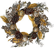 24 Iced Pomegranate, Berry and Cone Wreath by Valerie - H206643
