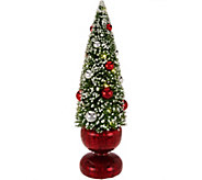 Bottlebrush Lit Tree with Ornaments and Mercury Glass Base by Valerie - H209943