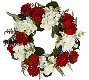 Red, White and Blue Hydrangea Wreath by Valerie - H210743