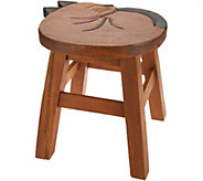 Plow and Hearth 10 Wooden Stool with Carved Design - H211643