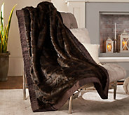 Dennis Basso Platinum 50 x 60 Faux Fur Throw w/Velvet Border - H213143