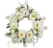 20 Peony Hydrangea Wreath by Nearly Natural - H179244