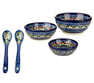 Lidias Polish Pottery 3-piece Bowl Set with Utensils - H202544