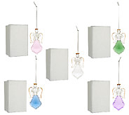 As Is Set 5 Angel Faceted Glass Ornaments with Gift Boxes by Valerie - H208144