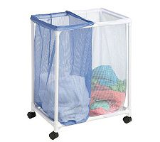 Honey-Can-Do 2 Bag Mesh Rolling Hamper
