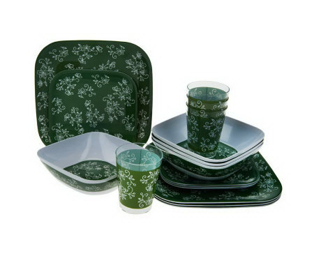 Temp-tations Floral Lace 16-piece Outdoor Dinnerware Set