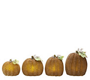 As Is 4 Piece Illuminated Wax Pumpkins by Valerie - H204645