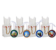 Illuminart Set of 4 Christmas Ornaments with Gift Bags - H206145