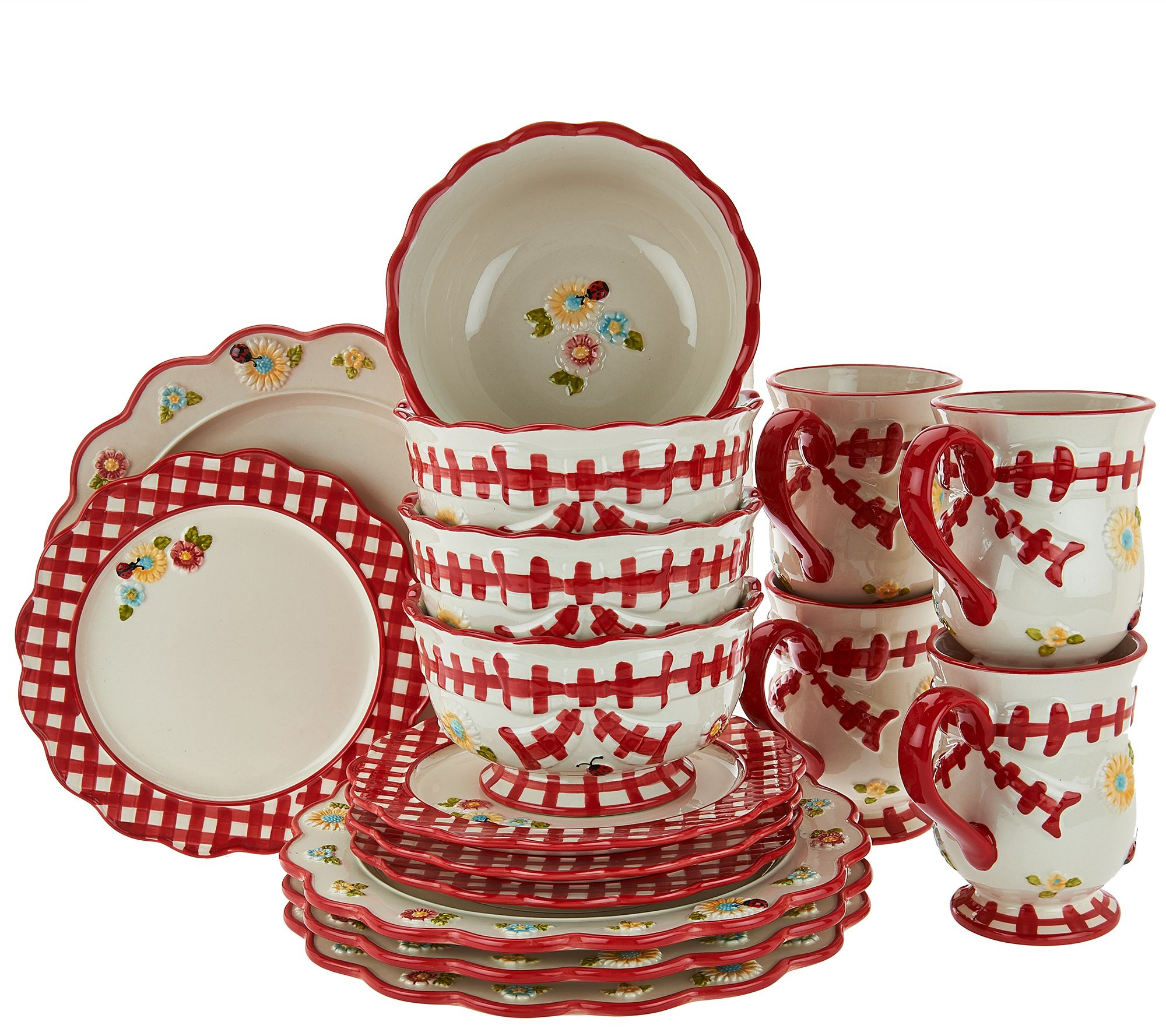 Temp Tations 16 Piece Gingham Garden Service For 4 Dinnerware Page  sc 1 st  xnuvo.com & Scintillating Christmas Dinnerware Sets Clearance Contemporary ...