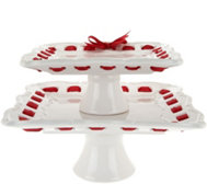 2-piece Ceramic Stackable Servers with Ribbon by Valerie